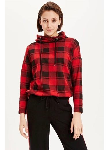 DeFacto Şal Yaka Kareli Sweatshirt Kırmızı